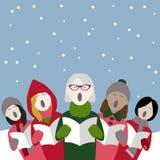 De vrouwelijke zangers van de Kerstmishymne in de sneeuw royalty-vrije illustratie