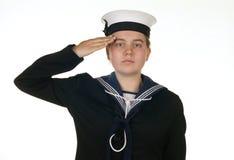 De vrouwelijke zeeman in marine isoleerde wit Royalty-vrije Stock Afbeelding