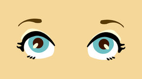 De vrouwen blauwe ogen van het beeldverhaal. Stock Foto's