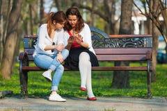 De vrouwen concentreerden zich op mobiele telefoon Stock Foto's