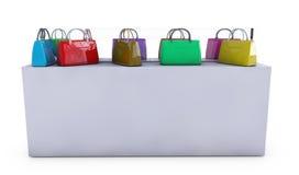 De vrouwen doen op de teller voor verkoop in zakken, 3d geef terug Stock Foto