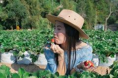 De vrouwen eten aardbeien de fruitlandbouwer stock afbeelding