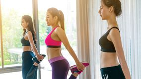 De vrouwen groeperen aëroob in de klasse van de geschiktheidsgymnastiek royalty-vrije stock foto's