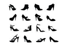 De vrouwen hielen schoenensilhouetten Stock Afbeeldingen