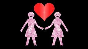 2 de vrouwen houden hand-hart-Transparant stock videobeelden