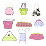 De vrouwen houden van handtassen!!! Stock Illustratie