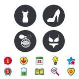 De vrouwen kleden pictogram Sexy schoenteken Parfum Stock Afbeeldingen