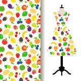De vrouwen kleden stof met vruchten patroon royalty-vrije illustratie
