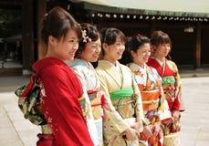 De vrouwen kleedden zich in Kimono Stock Foto's