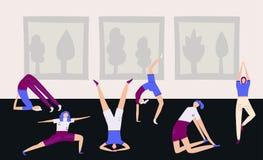 De vrouwen of de meisjes in yogaklasse die zich in verschillende yoga bevinden stellen Vlakke vectorillustratie royalty-vrije illustratie