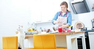 de vrouwen mengen de ingrediënten van een cake in een roestvrije kom i royalty-vrije stock fotografie