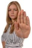 De vrouwen met hand HOUDEN omhoog op Royalty-vrije Stock Foto's