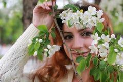 De vrouwen met takappel bloeien Stock Foto
