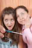 De vrouwen met zwangerschap testen Stock Afbeelding