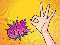 De vrouwen overhandigen WAUW o.k. gebaaractie met vector illustratie