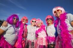 De vrouwen in Roze bij het Maken van Passen tegen Borstkanker lopen Stock Fotografie