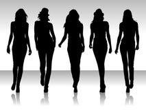 De vrouwen silhouetteren Royalty-vrije Stock Afbeelding