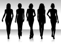 De vrouwen silhouetteren Stock Foto's