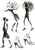De vrouwen silhouetteren inkt Royalty-vrije Stock Foto