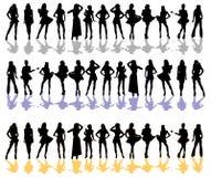 De vrouwen silhouetteren kleur Royalty-vrije Stock Afbeeldingen