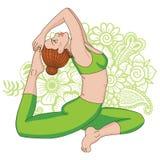 De vrouwen silhouetteren One-legged yoga van de koningsduif stelt Eka Pada Rajakapotasana Stock Foto