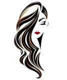 De vrouwen snakken het pictogram van de haarstijl, embleemvrouwen op witte achtergrond stock illustratie