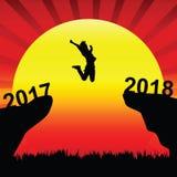 De vrouwen springen tussen 2017 en 2018 Stock Afbeeldingen