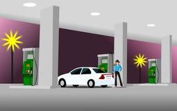 De vrouwen tanken aan de witte sedan bij bij de oliepost vector illustratie