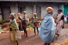 De vrouwen van Bonda bij de markt. Royalty-vrije Stock Foto