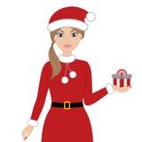 De vrouwen van de kerstman met zakken Stock Afbeelding