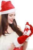 De vrouwen van de kerstman met zakken stock afbeeldingen