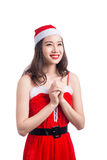 De vrouwen van de kerstman met zakken Schoonheid Aziatisch ModelGirl in Santa Hat geïsoleerd o Stock Foto