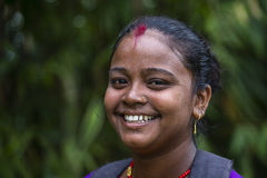 De vrouwen van de portretglimlach in Nepal Royalty-vrije Stock Fotografie