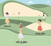De vrouwen van de golfspeler in de cursus vector illustratie