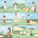 De vrouwen van de golfspeler in de cursus royalty-vrije illustratie