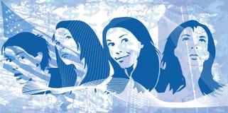 Grungevrouwen royalty-vrije stock afbeeldingen