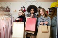 De vrouwen van het diverse behoren tot een bepaald ras met het winkelen zakken die in lingerie stellen slaan op Portret van drie  Stock Foto's