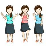 De vrouwen van het karakterbureau in pak Royalty-vrije Illustratie