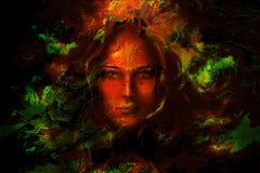 De vrouwen van het mysticusgezicht, met kleuren achtergrondcollage Oogcontact vector illustratie