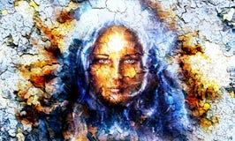 De vrouwen van het mysticusgezicht, met structuurritselen royalty-vrije illustratie