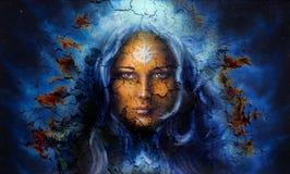 De vrouwen van het mysticusgezicht, met van het achtergrond structuurritselen effect, met ster op voorhoofd, collage Oogcontact stock illustratie
