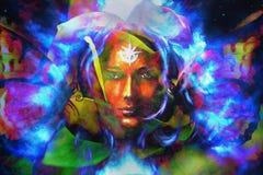 De vrouwen van het mysticusgezicht met vlinders, kleuren achtergrondcollage Oogcontact vector illustratie