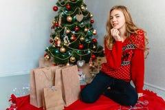 De vrouwen van de kerstman met zakken Portret van een meisje Het glimlachen van het meisje Het meisje viert Kerstmis royalty-vrije stock afbeelding