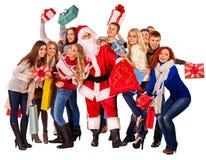 De vrouwen van Kerstmisvrienden, mannen met het winkelen zak en giftdoos royalty-vrije stock foto