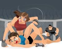De vrouwen worstelen in de ring vector illustratie