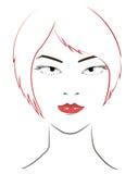 De vrouwen zien met rood haar onder ogen Stock Fotografie