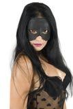 De vrouwen zien met zwart masker onder ogen Royalty-vrije Stock Foto