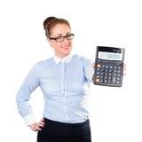 De vrouwenaccountant toont calculator Stock Fotografie
