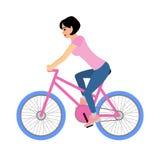 De vrouwenfietser berijdt een fiets Vectordieillustratie op wit wordt geïsoleerd Stock Foto