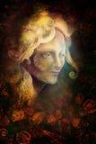 De vrouwengezicht van de Fairytalefee op abstracte achtergrond met ornamenten vector illustratie